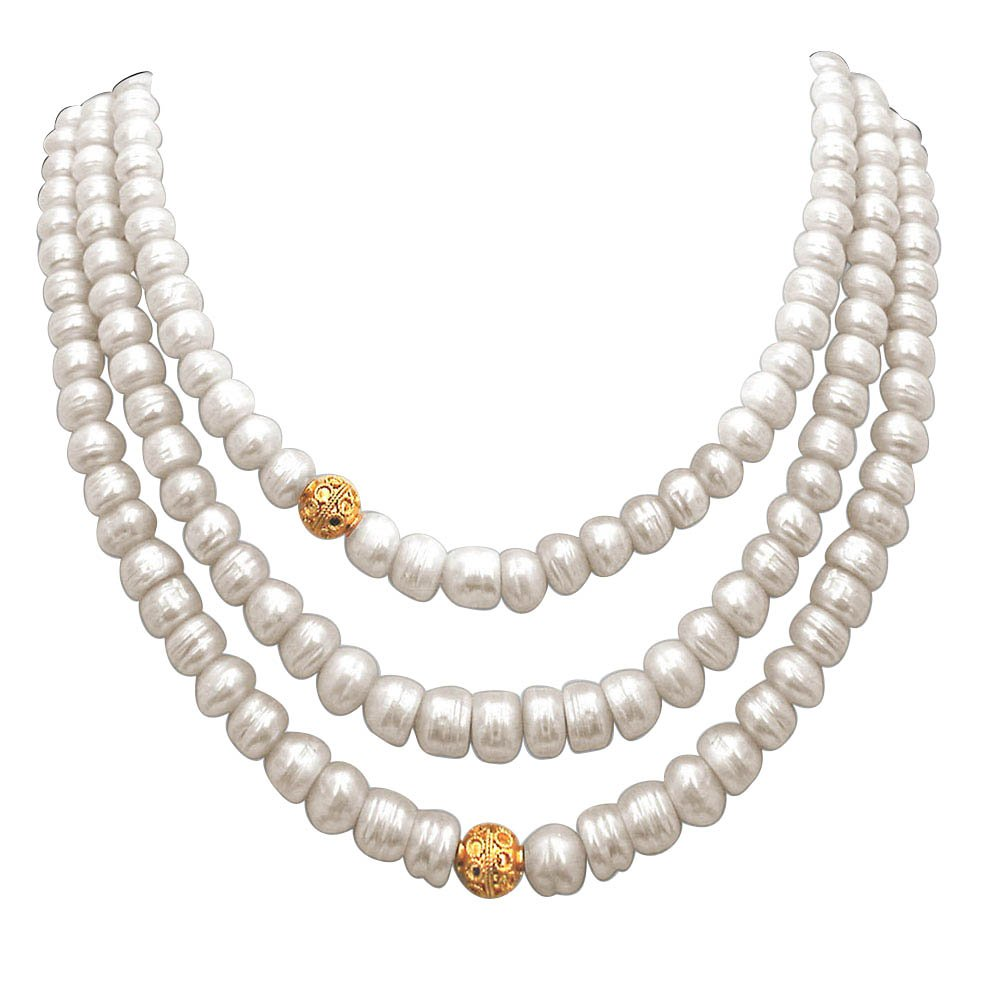 Pearl n Pretty - 3 Line Real Freshwater Pearl & Gold Plated Ball Necklace for Women (SN244)