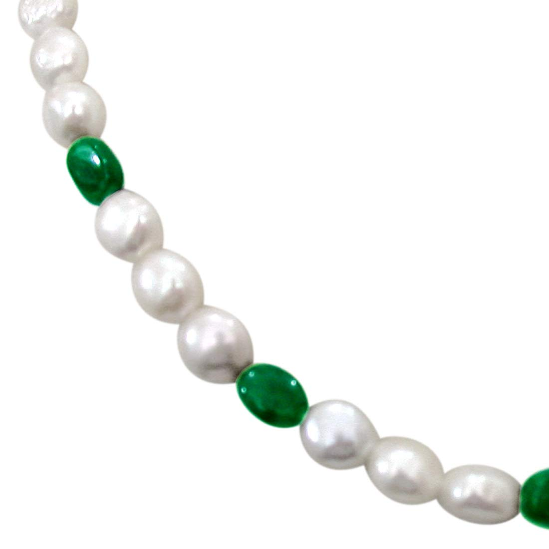 Show Gal - Single Line Freshwater Button Pearl and Green Oval Emerald Necklace for Women (SN246)