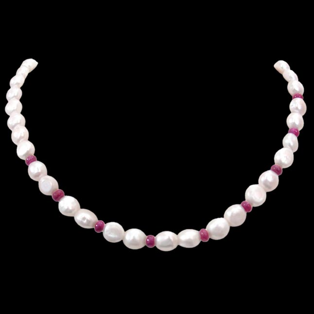 Shining Surprise - Single Line Real Freshwater Pearl & Small Red Ruby Beads Necklace for Women (SN247)