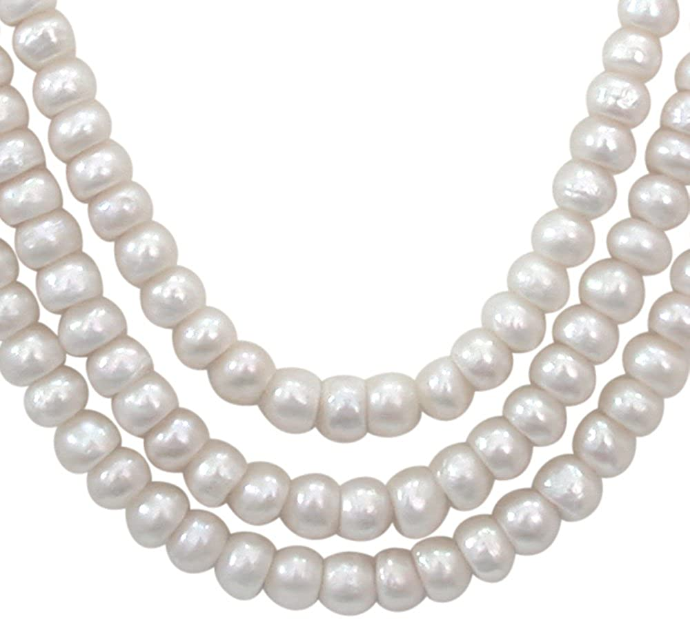 Candy Floss - 3 Line Real Freshwater Pearl Necklace for Women with Small Red Garnet (SN249)