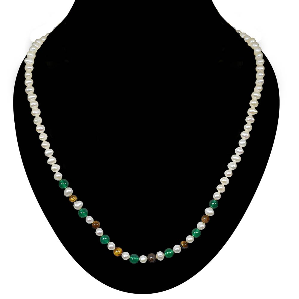 Infatuation - Single Line Real Freshwater Pearl, Green Onyx & Tiger Eye Beads Necklace for Women (SN24)