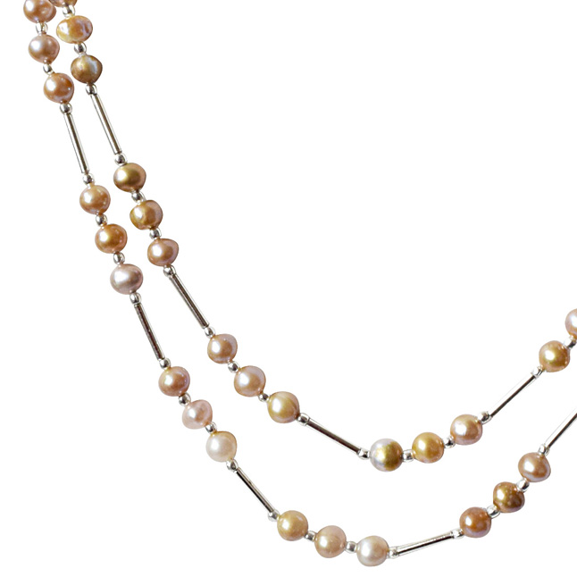 Peach and Purple Real Natural Freshwater Pearl and Silver Plated Pipe Necklace