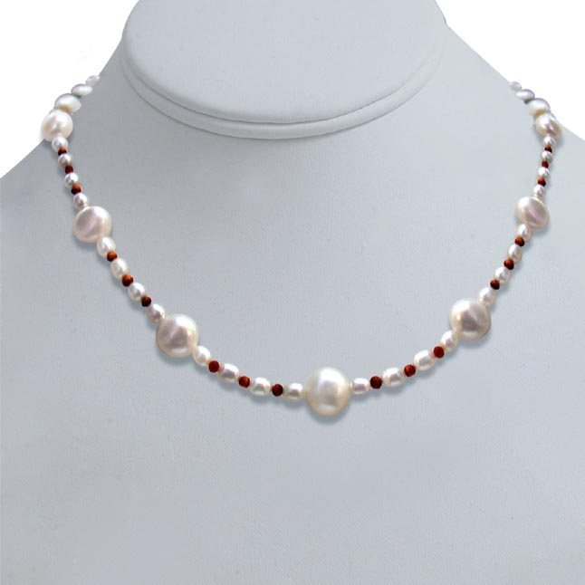 Hazelnut - Single line Real Freshwater & Rice Pearl & Round Tiger Eye Beads Necklace (SN277)