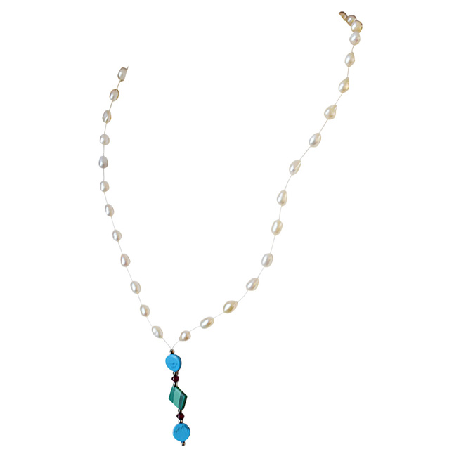 Blue Dutch Truffle - Trendy Green Malachite, Turquoise Disc, Garnet Beads & Rice Pearl Wire Style Necklace for Women (SN290)