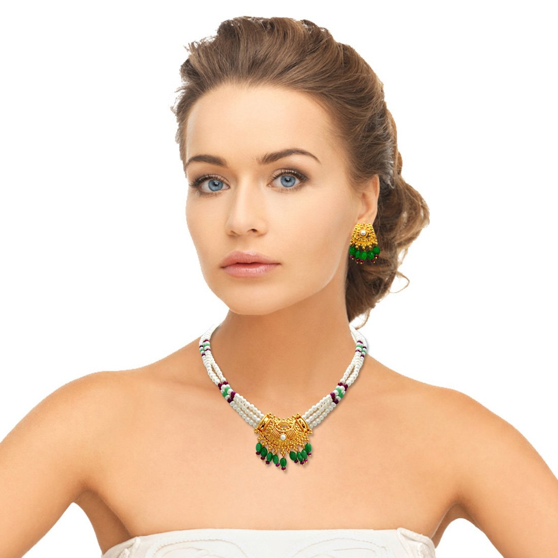 Show stopping Splendor - Gold Plated Pendant, Freshwater Pearl, Ruby & Emerald Necklace Earring Set for Women (SN291)
