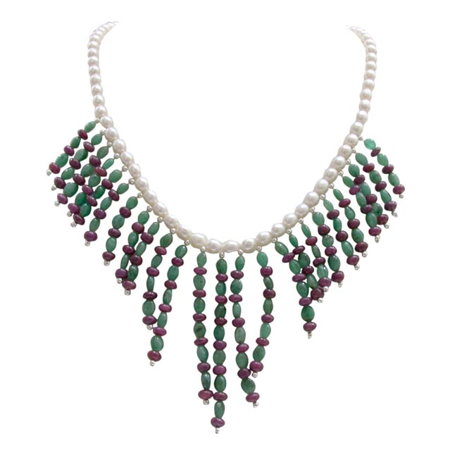 Star In The Making - Real Freshwater Pearl, Ruby Beads & Green Oval Emerald Necklace For Women (SN295)