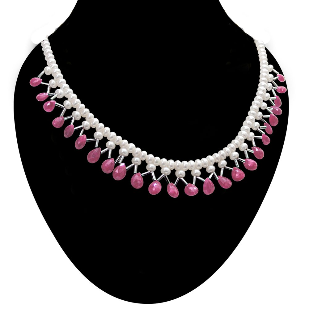 Be Mine - Real Faceted Drop Ruby, Freshwater Pearl & Silver Plated Pipe Necklace for Women (SN298)