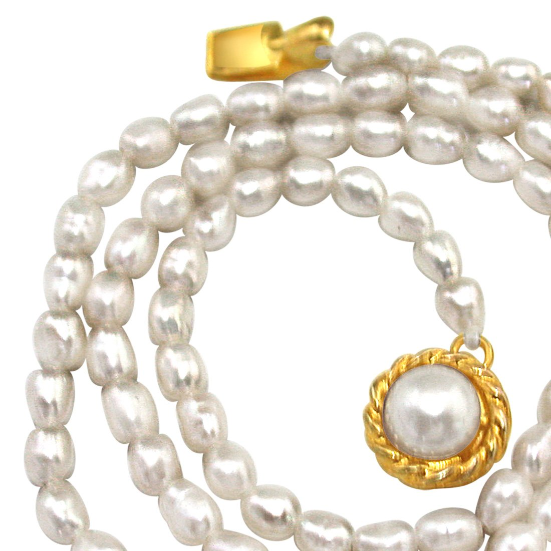 Coffee Delight - Single Line Real Rice Pearl Necklace for Women (SN299)