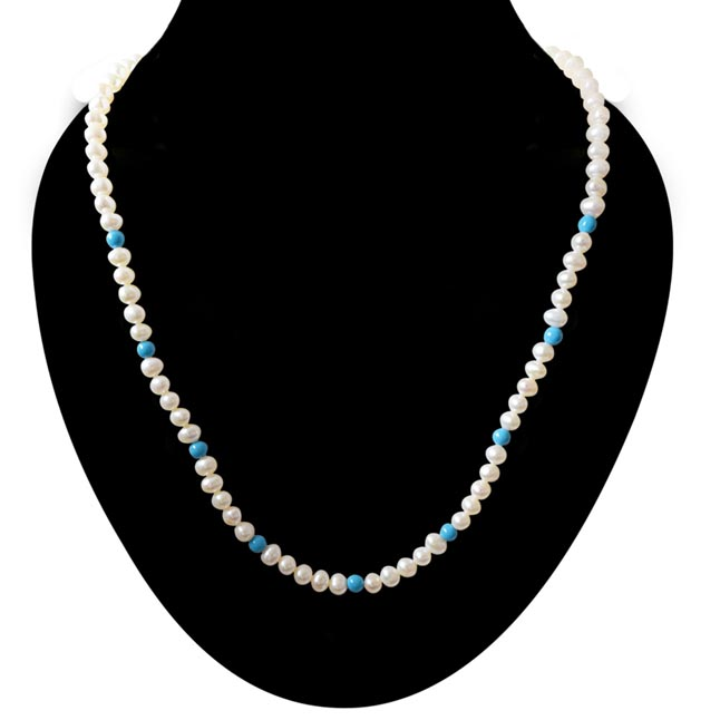Single line Real Freshwater Pearl & Round Blue Turquoise Beads Necklace (SN29)
