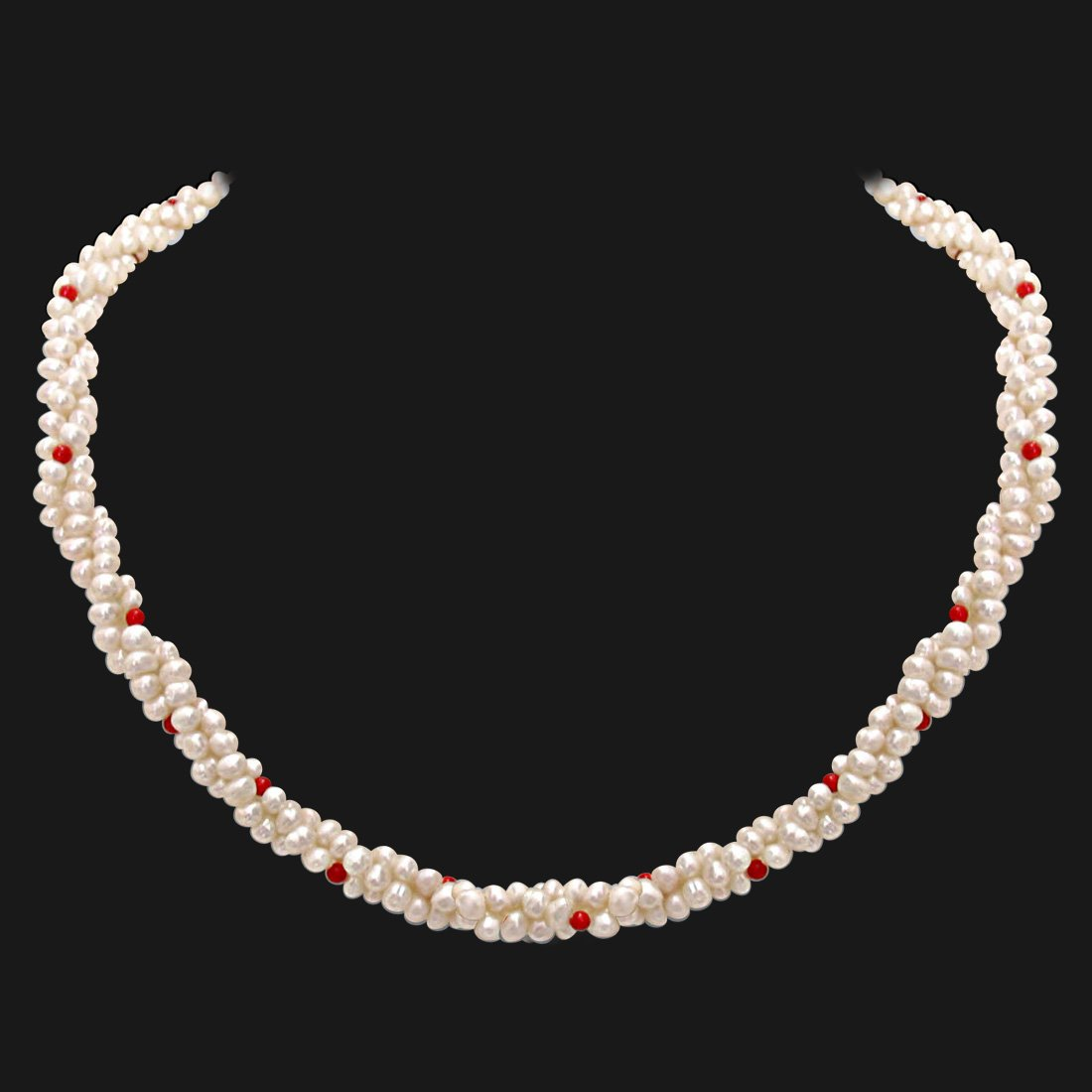 Coral Bead Beauty - 3 Line Twisted Real Pearl & Red Coral Beads Necklace for Women (SN303)