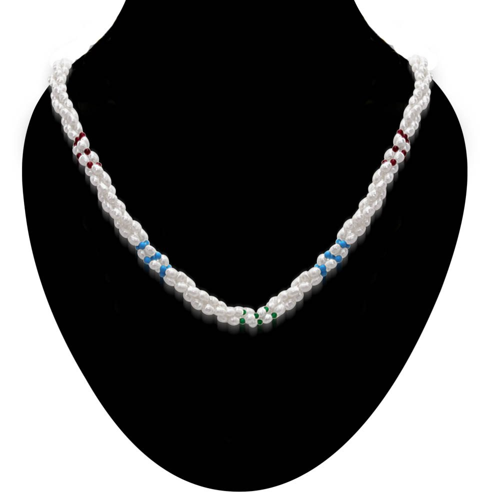 Vanilla Ice - 3 Line Twisted Real Pearl, Turquoise, Garnet & Green Onyx Beads Necklace for Women (SN304)