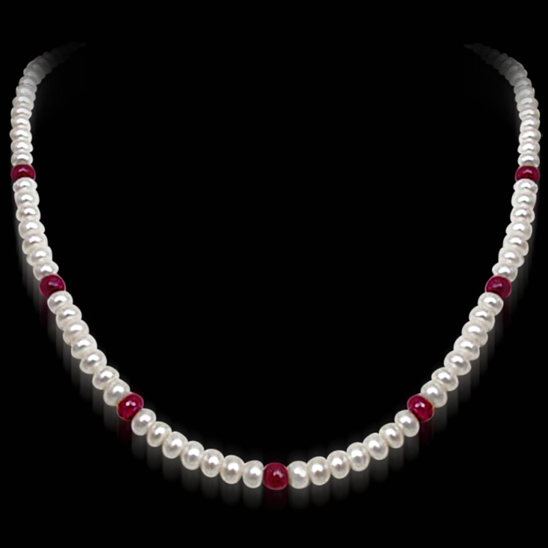 Beloved n Beautiful - Single Line Real Ruby Beads & Freshwater Pearl Necklace for Women (SN306)