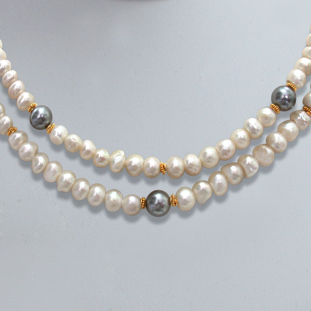 2 Line Real Pearl and Shell Pearl Necklace (SN307)