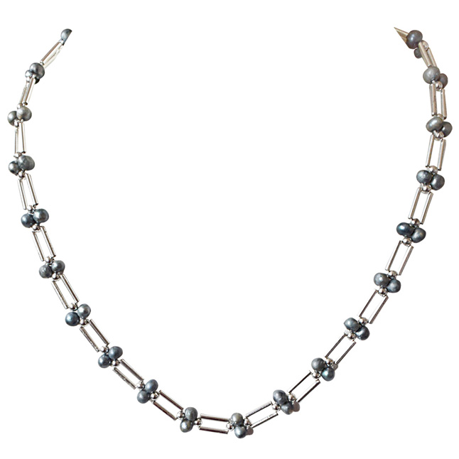 Grey Coloured Pearl and Silver Plated Pipe and Beads Necklace for Women (SN321)