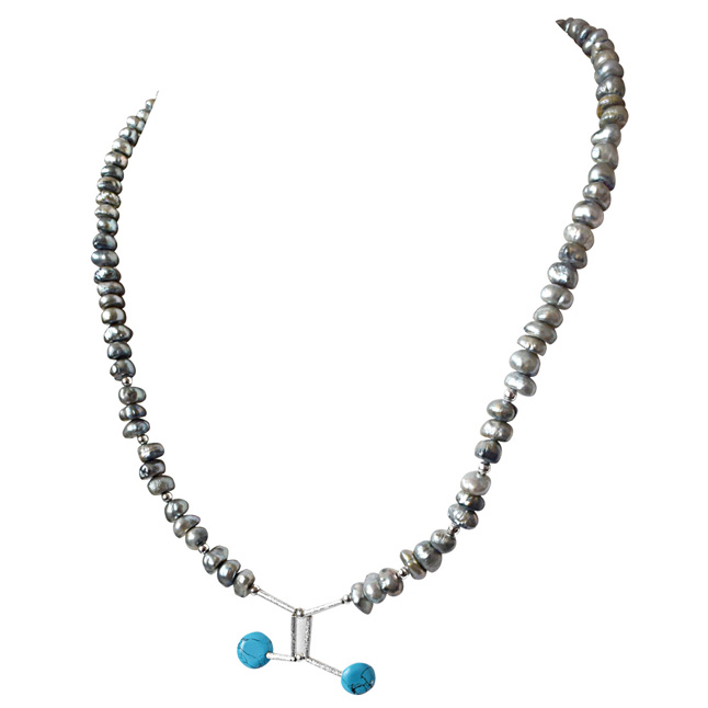 Grey Colored Pearl Necklace -SN324
