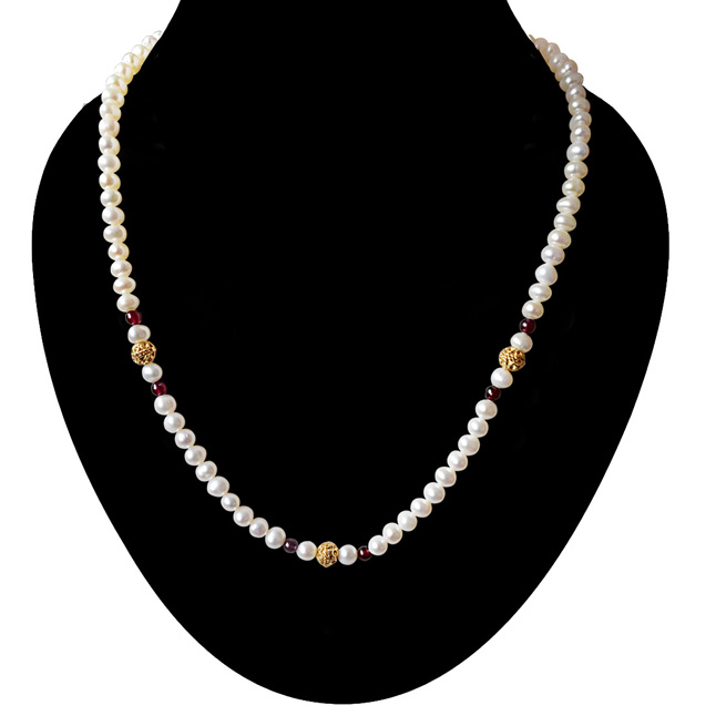 Dejavu - Single Line Red Garnet, Real Freshwater Pearl and Gold Plated Ball Necklace for Women (SN33)