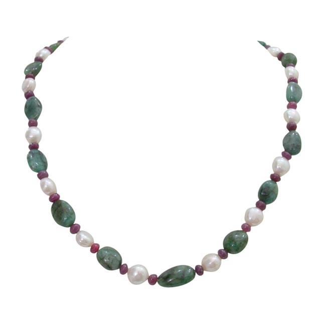 Single Line Real Green Oval Emerald, Red Ruby Beads and Freshwater Pearl Necklace for Women (SN341)