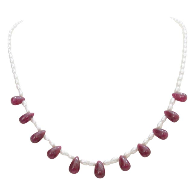 Real Rice Pearl & Drop Ruby Necklace