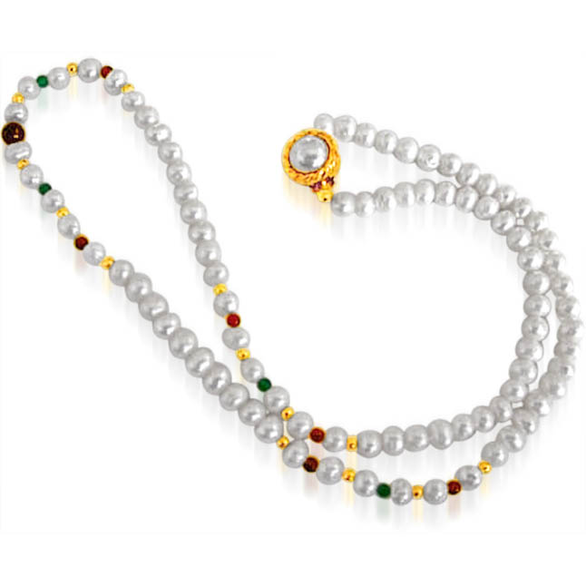 Grandiose - Single Line Pearl Necklace with Red Garnet & Green Onyx with Gold Plated Beads (SN35)