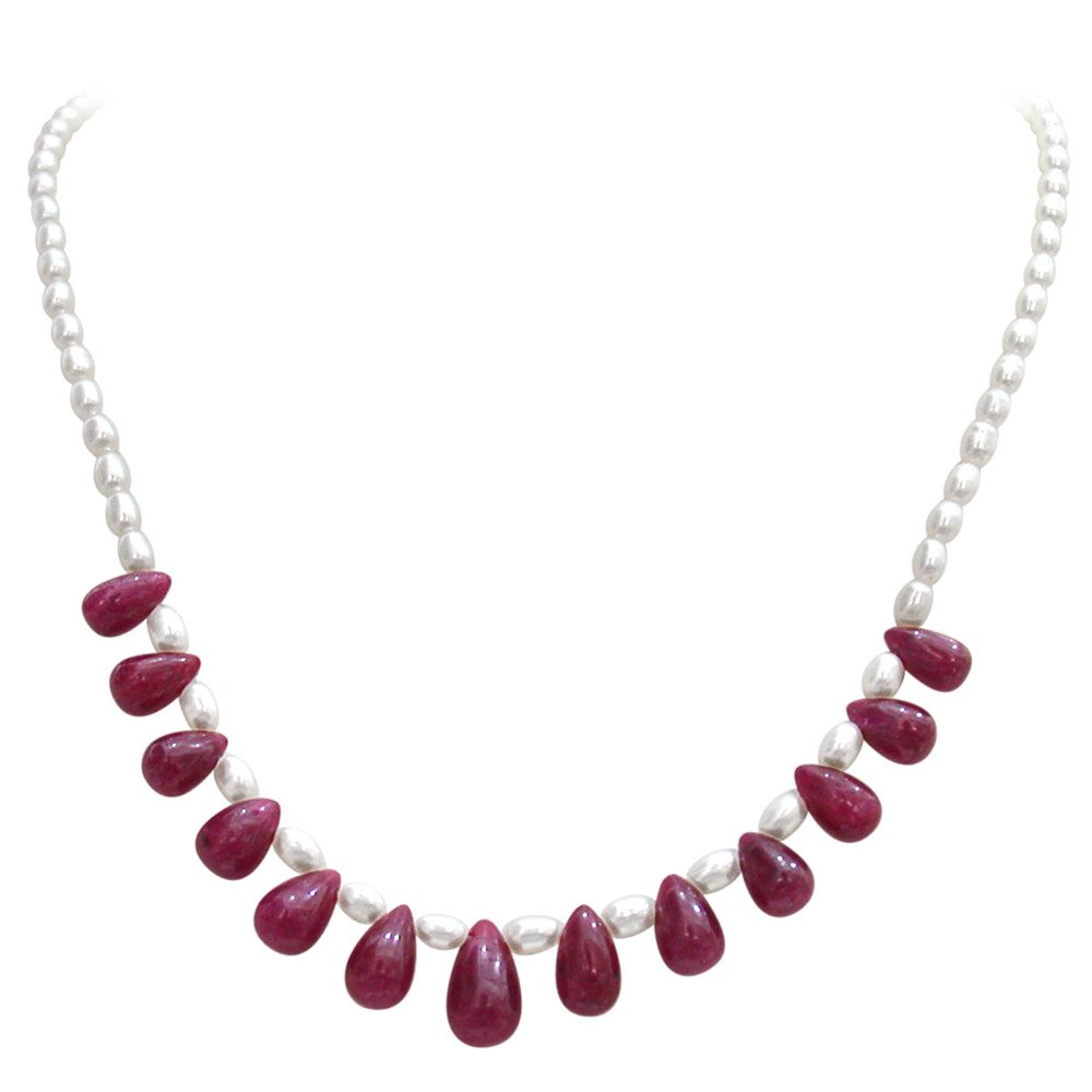 Passionate Forever - Single Line Real Drop Ruby & Rice Pearl Necklace for Women (SN350)