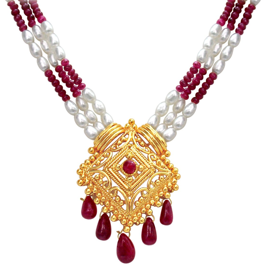 Indian Delights - 3 Line Real Ruby, Rice Pearl & Gold Plated Pendant Necklace for Women (SN353)