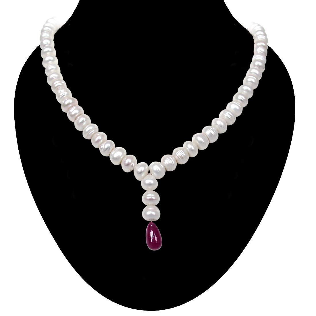Single Line Big Freshwater Pearl & Drop Ruby Necklace for Women (SN386)