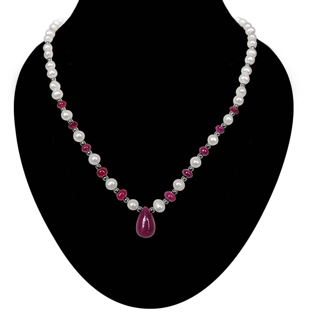 Kiss and Tell - Single Line Freshwater Pearl, Real Ruby & Silver Plated Beads Necklace for Women (SN388)
