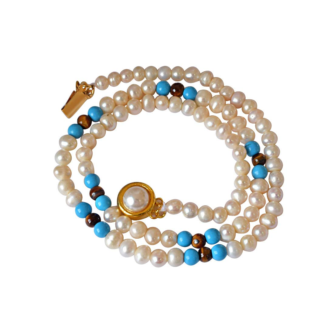 Blue Lagoon - Single Line Real Freshwater Pearl, Turquoise & Tiger Eye Beads Necklace for Women (SN401)