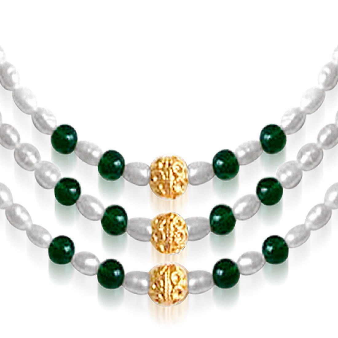 Stately Elegance - 3 Line Real Green Onyx and Rice Pearl Necklace for Women (SN40)