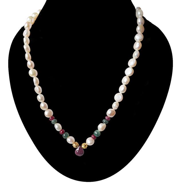 SN -422 Queen's Closet -Precious Stone Necklace