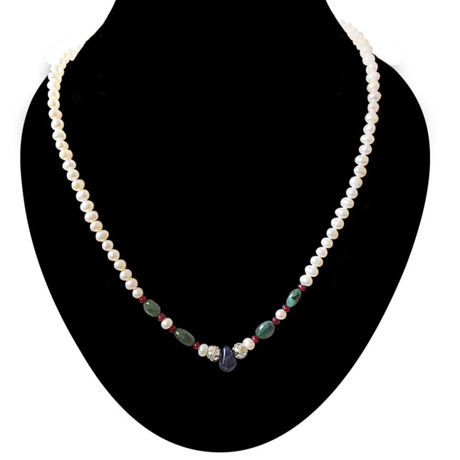 Beautiful Grace - Real Freshwater Pearl, Drop Sapphire, Oval Emerald & Ruby Beads Necklace for Women (SN423)