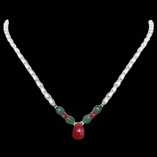 Marvel - All - Real Rice Pearl, Oval Emerald, Drop Ruby & Ruby Beads Necklace For Women (SN433)