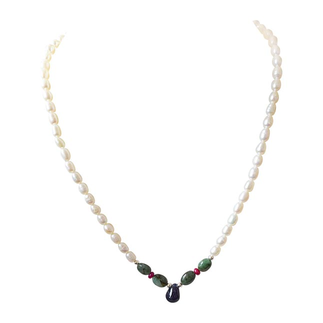 Impress In Style - Real Rice Pearl, Drop Sapphire, Oval Emerald & Ruby Beads Necklace for Women (SN434)