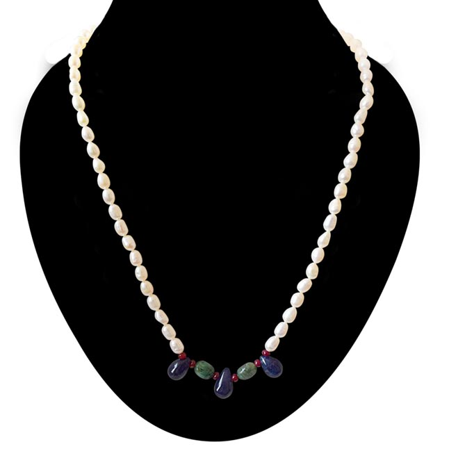 His Pretty Princess - Real Rice Pearl, Drop Sapphire, Oval Emerald & Ruby Beads Necklace For Women (SN437)