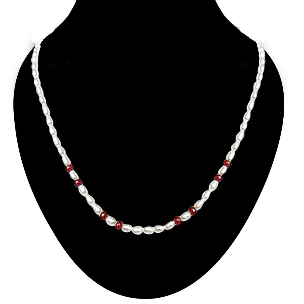Sheer Fun - Single line Ruby Beads & Rice Pearl Necklace for Women (SN446)