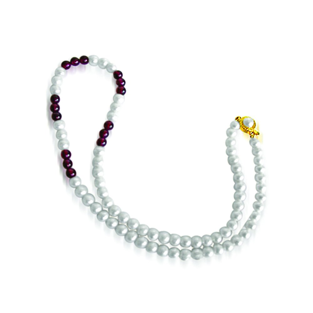 Angel eyes - Single Line Freshwater Pearl & Red Garnet Beads Necklace for Women (SN44)