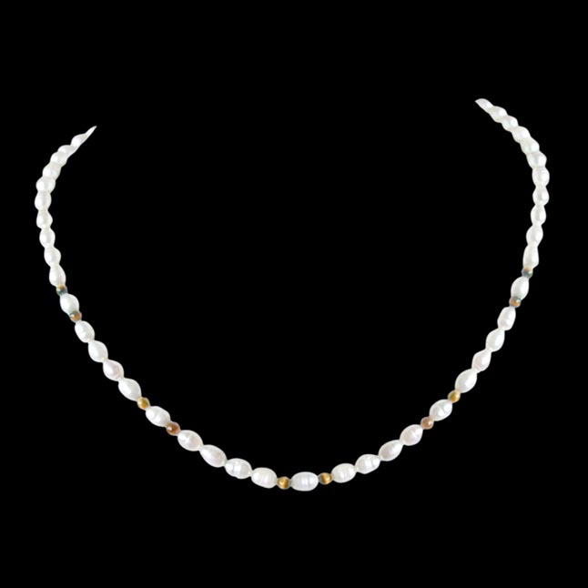 Dazzle - Single line Real Rice Pearl & Round Tiger Eye Beads Necklace (SN46)