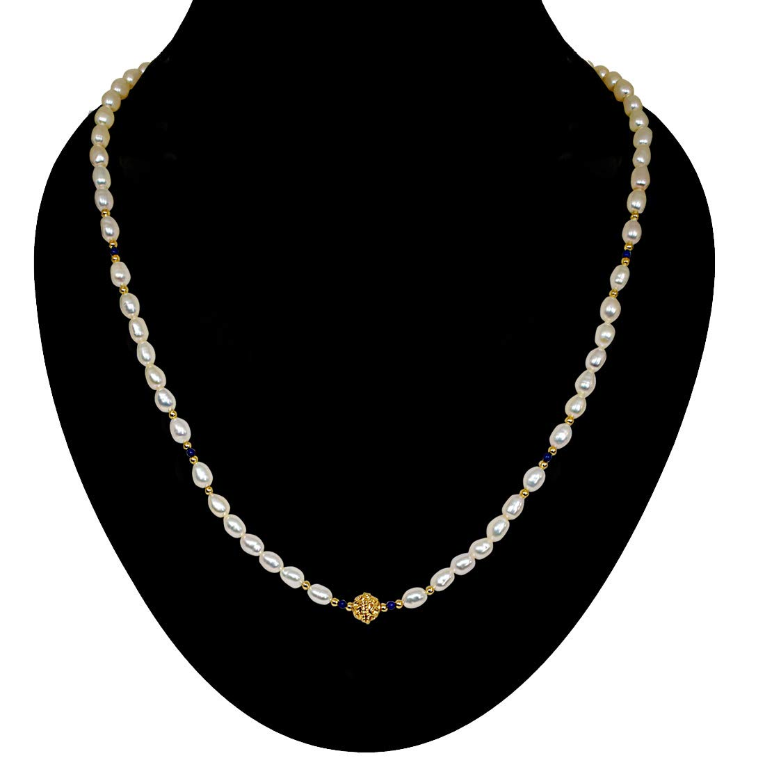 Adoration - Single Line Real Pearl Necklace with Blue Lapiz & Gold Plated Ball & Beads (SN47)