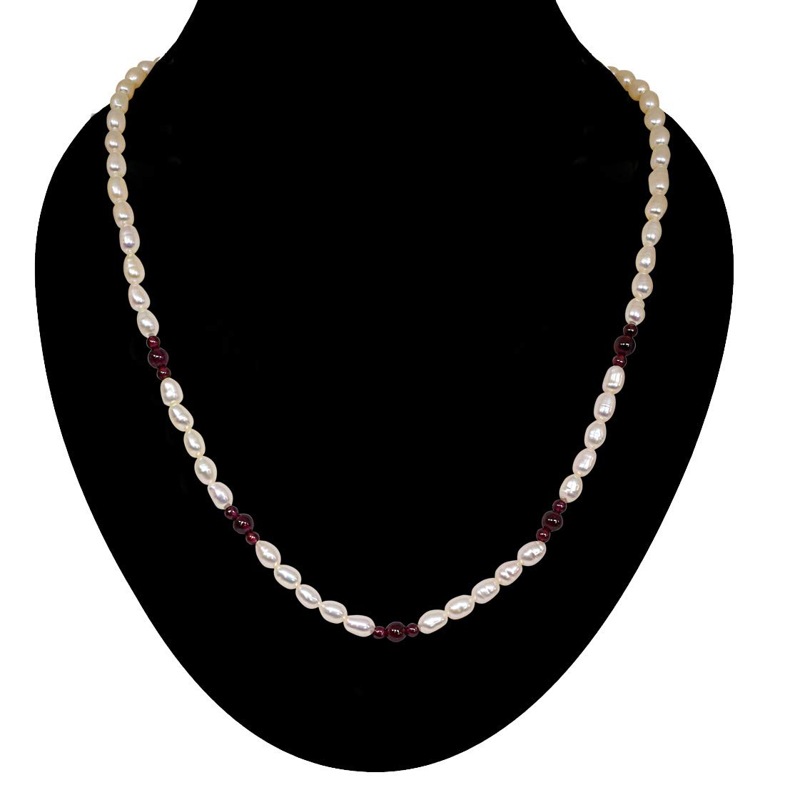 Sentiments - Single Line Pearl Necklace with Small & Big Round Garnet (SN48)