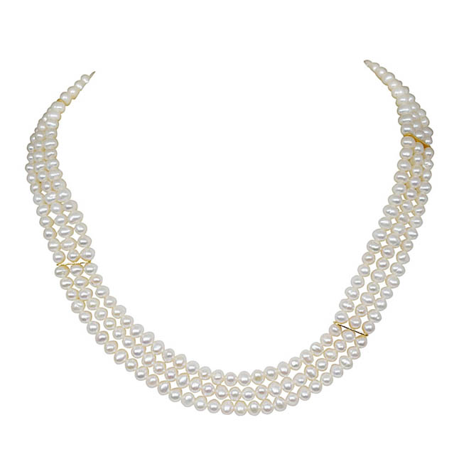 Ecstasy Real Pearl -2 To 3 Line Necklace