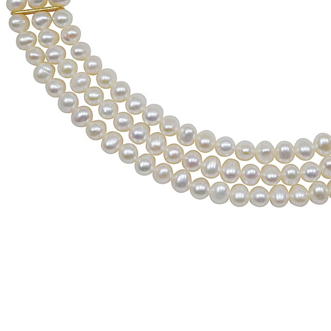 Ecstasy Real Pearl - 3 Line Real Freshwater Pearl Necklace for Women (SN4)