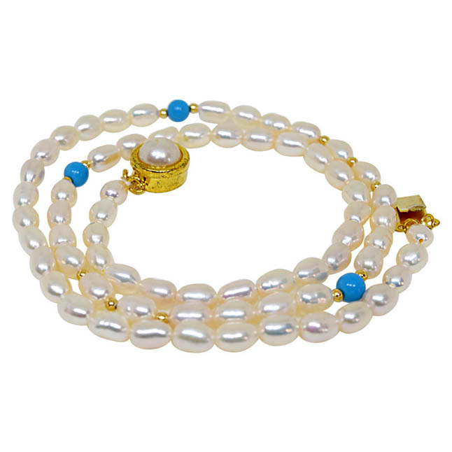 Elan - Single Line Pearl Necklace with Blue turquoise & Gold Plated Beads (SN50)