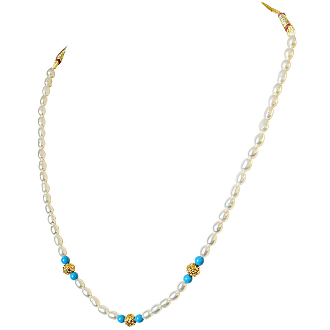 Turquoise Bead, Gold Plated Balls and Rice Pearl Necklace for Women (SN518)
