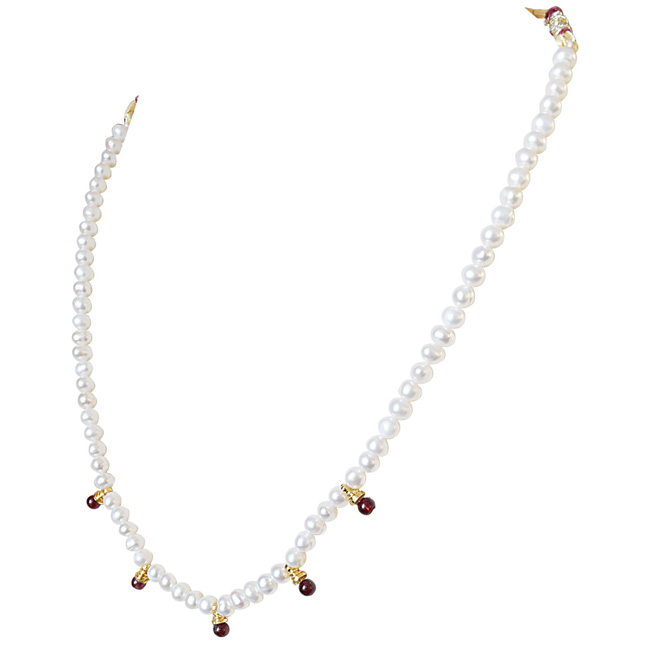 Red Garnet and Freshwater Pearl Necklace for Women (SN519)
