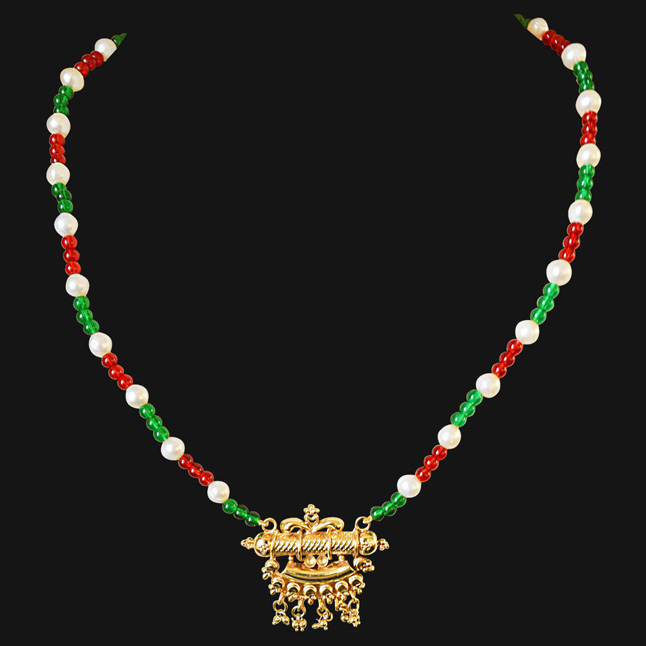 0eb48536e1bcf Traditional Gold Plated Pendant, Red and Green Colored Stone and Freshwater  Pearl Necklace for Women (SN570)