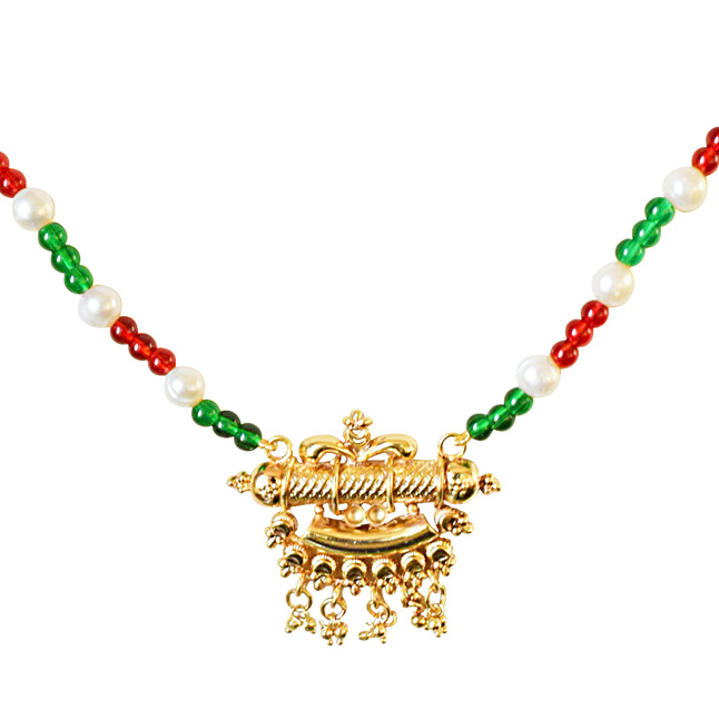 Traditional Gold Plated Pendant, Red and Green Colored Stone and Freshwater Pearl Necklace for Women (SN570)