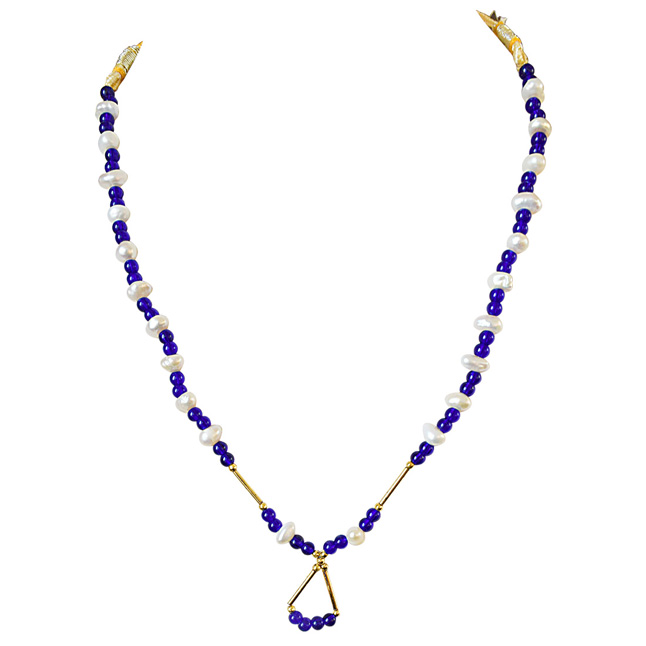 Blue Colored Stone, Freshwater Pearl and Gold Plated Pipe Necklace for Women (SN584)