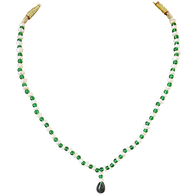 Green Colored Stone and Freshwater Pearl Necklace for Women (SN585)