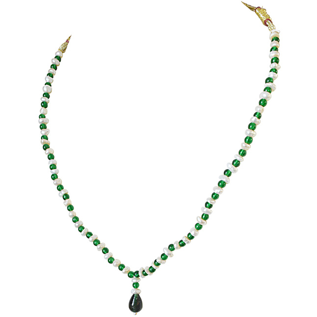Green Beads & Freshwater Pearl Necklace