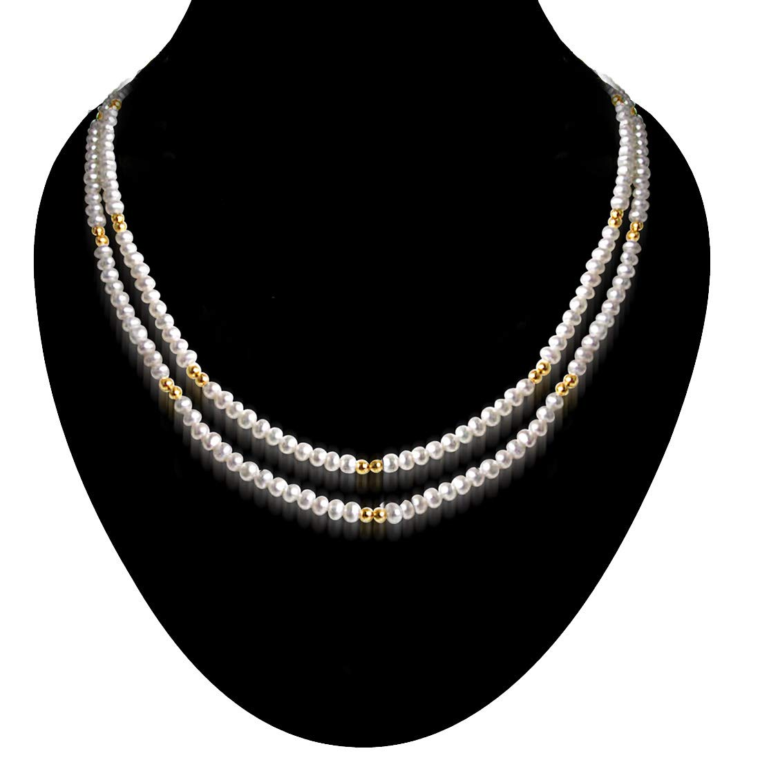 Real Pearl Glow - 2 Line Freshwater Pearl & Gold Plated Beads Necklace for Women (SN58)